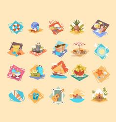 summer vacation icon set seaside holiday vector image vector image