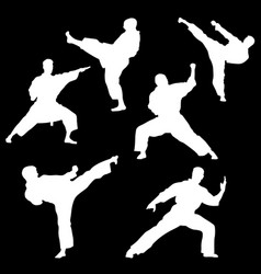 white silhouette of karate on a black background vector image