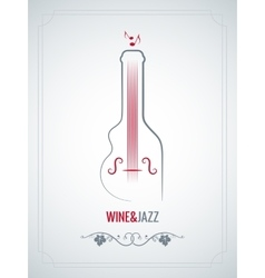 wine bottle jazz design background vector image