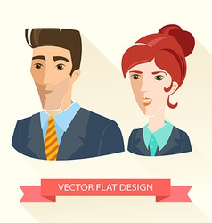 Businessman and businesswoman working team Flat vector image vector image