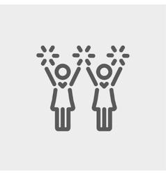 Cheerleaders thin line icon vector image