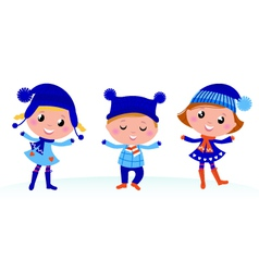 cute winter kids vector image vector image