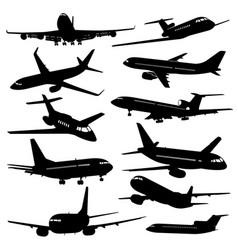 flight aviation icons airplane black vector image