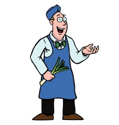 greengrocer with leek showing something vector image vector image