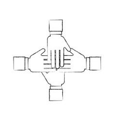 hands human teamwork icon vector image