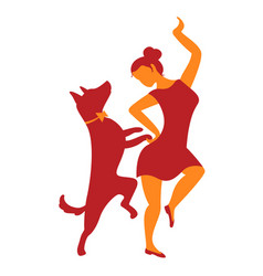 icon with girl and dog with dancing vector image vector image