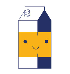 kawaii milk carton in color sections silhouette vector image vector image