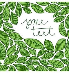 leaves frame doodle vector image vector image