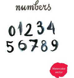 watercolor hand written black numbers vector image