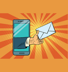 you email or a message in smartphone vector image vector image