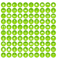 100 amusement icons set green vector