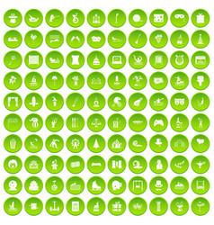 100 amusement icons set green vector