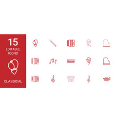 15 classical icons vector image