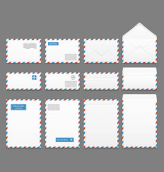 Air mail paper letter envelopes set vector