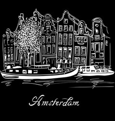 Amsterdam canal and typical dutch houses vector