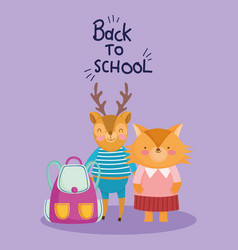 back to school education cute deer and fox vector image