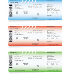 Blue green and red airline boarding pass tickets vector