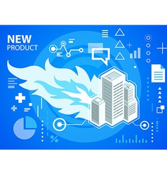 Bright fire and buildings on blue background vector