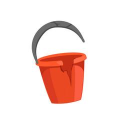 Broken bucket recycling garbage concept utilize vector