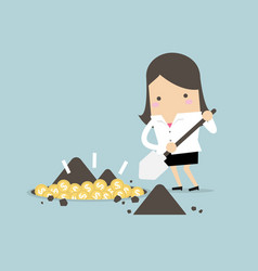 businesswoman digging a ground to find coin vector image