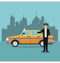 Cab car driver uniform service public vector