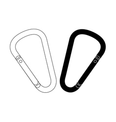 Carabiners set contour and silhouette vector