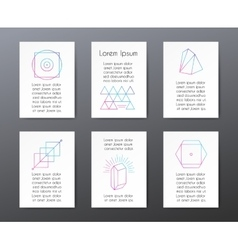 Cards with text and geometric shapes for vector image
