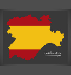 Castilla y leon map with spanish national flag vector