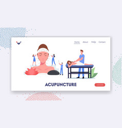 Character applying acupuncture landing page vector