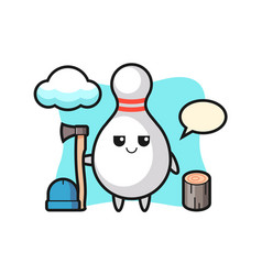Character cartoon bowling pin as a woodcutter vector
