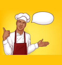 chef cook welcoming restaurant clients vector image
