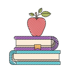 Color crayon stripe image of pair of books with vector