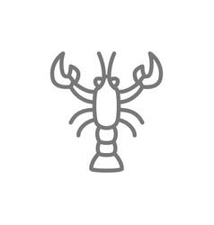 crayfish crawfish lobster line icon vector image