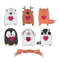 cute animals comic valentines day cartoon vector image