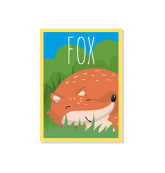 cute red fox with woodland vector image