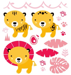 Cute safari animals set isolated on white vector image