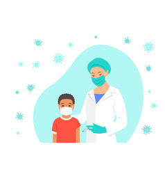 Doctor gives a shot covid19 vaccine to little boy vector