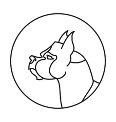 Dog head in a linear style vector image