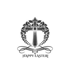 easter day cross in laurel icon vector image