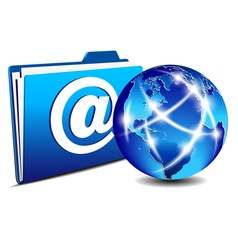 Email folder and communication internet world vector
