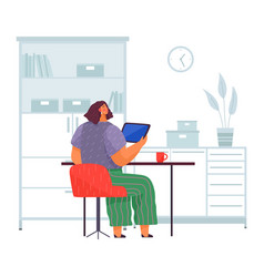 Female character at a desk with tablet pc back vector
