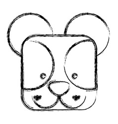 figure square bear face animal vector image
