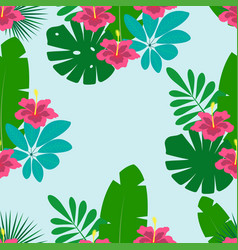 floral pattern on blue background vector image