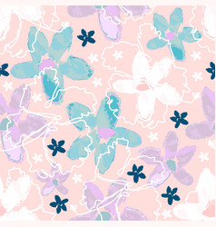 floral seamless pattern with hand drawn watercolor vector image