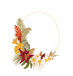 floral wreath frame with watercolor dry tropical vector image