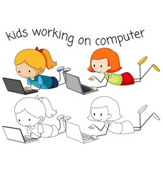 Girls using computer on white background vector