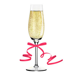Glass of champagne with ribbon merry christmas vector