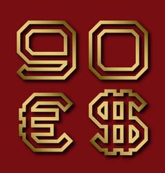 Gold angular nine zero numbers euro and dollar vector