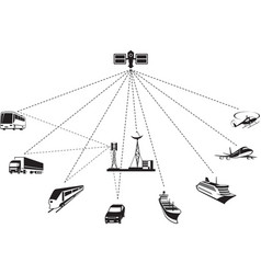 gps navigation of passenger and freight transport vector image