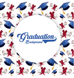Graduation card with hat and diploma pattern vector